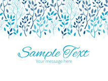Vector blue forest horizontal border greeting card Stock Images
