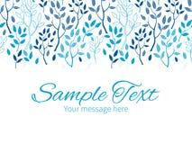 Vector blue forest horizontal border greeting card vector illustration