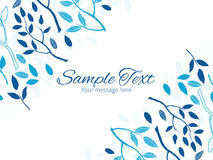 Vector blue forest horizontal double corners frame Royalty Free Stock Image