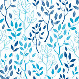 Vector blue forest seamless pattern background Royalty Free Stock Photo