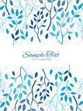 Vector blue forest vertical double borders frame Royalty Free Stock Photography