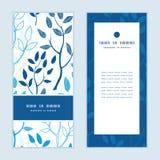 Vector blue forest vertical frame pattern stock illustration
