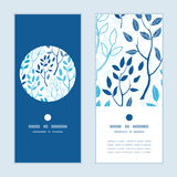 Vector blue forest vertical round frame pattern Stock Photo