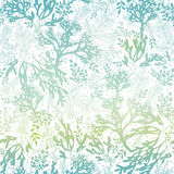Vector Blue Freen Seaweed Texture Seamless Pattern Background. Great for elegant gray fabric, cards, wedding invitations Stock Image