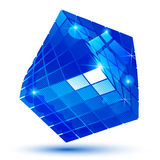 Vector blue futuristic object with sparkling effect, dimensional text Royalty Free Stock Image