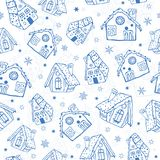 Vector blue gingerbread houses seamless pattern background. Perfect for winter holiday fabric, giftwrap, scrapbooking. Greeting cards design projects. Pattern Royalty Free Stock Photos