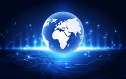 Vector blue globe on the digital technology background, abstract illustration royalty free stock photo