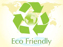 Vector blue globe with green recycle sign Stock Photography