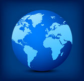 vector blue globe icon on blue background Royalty Free Stock Photography