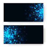 Vector blue glowing light glitter background. Magic glow light effect. Star burst with sparkles on dark background Stock Image