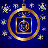 Vector Blue Gold Decorative Christmas Greeting Royalty Free Stock Photos
