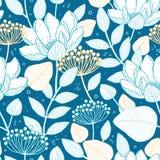 Vector blue gold floral seamless pattern vector illustration