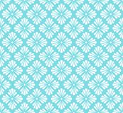 Vector Blue Golden Floral Ornamental Seamless Pattern. Geometric Flower Stylish Texture. Abstract Retro Tile Texture. Classic Art Deco Seamless Pattern stock illustration