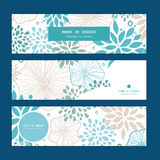 Vector blue and gray plants horizontal banners set Royalty Free Stock Images