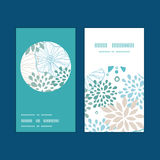 Vector blue and gray plants vertical round frame Stock Images