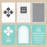 Vector blue gray set of Vintage pattern background banner  Royalty Free Stock Photo