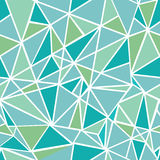 Vector Blue Green Geometric Mosaic Triangles Repeat Seamless Pattern Background. Can Be Used For Fabric, Wallpaper Stock Images