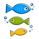 Vector Blue, Green and Orange Fish Set Royalty Free Stock Photo