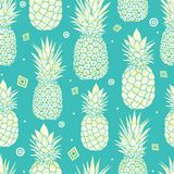 Vector blue green pineapples summer tropical seamless pattern background. Great as a textile print, party invitation or packaging. Royalty Free Stock Images