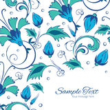 Vector blue green swirly flowers frame corner Royalty Free Stock Photos