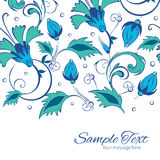 Vector blue green swirly flowers horizontal border Stock Images