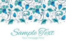 Vector blue green swirly flowers horizontal border Stock Image