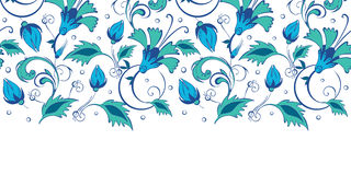 Vector blue green swirly flowers horizontal border Royalty Free Stock Photos