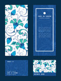 Vector blue green swirly flowers vertical frame Royalty Free Stock Images