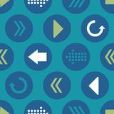Vector Blue Green Teal Arrow Circles Seamless Pattern Background royalty free illustration