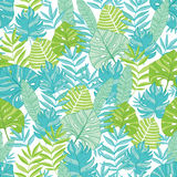 Vector blue green tropical leaves summer hawaiian seamless pattern with tropical plants and leaves on navy blue Stock Images