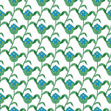Vector Blue Green Turkish Flowers Geometric Royalty Free Stock Photography