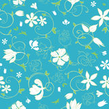 Vector Blue Green White Spring Florals Seamless Royalty Free Stock Photos