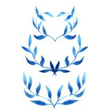 Vector blue gzhel watercolor leaf pattern template Stock Image