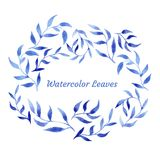 Vector blue gzhel watercolor leaf pattern template Royalty Free Stock Photography