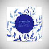 Vector blue gzhel watercolor leaf pattern template Royalty Free Stock Photos