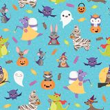 Vector Blue Halloween Friends Seamless Pattern Background royalty free illustration