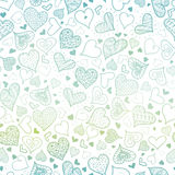 Vector Blue Hand Drawn Hearts Seamless Pattern Design Perfect for Valentine`s Day cards, fabric, scrapbooking, wallpaper Royalty Free Stock Images