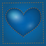 Vector blue heart with stitch Stock Photo