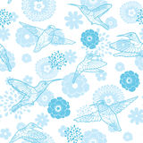 Vector Blue Hummingbirds and Flowers Lineart Royalty Free Stock Images