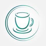 Vector blue icon of tea cup Stock Photos