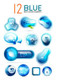 Vector blue icons - web boxes design collection Royalty Free Stock Photography