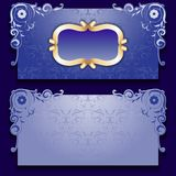 Vector blue invitation card with frame. And filigree ornate, place for text Stock Photos