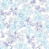 Vector Blue Japanese Floral Kimono Line Art. Seamless Pattern graphic design Stock Photography