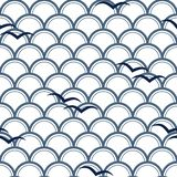 Vector blue Japanese waves with blue birds on white background repeat seamless pattern. royalty free illustration