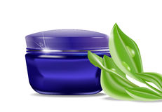 Vector blue jar with a cosmetic cream Royalty Free Stock Photo
