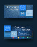 Vector blue jeans texture background with discount voucher layout Royalty Free Stock Images