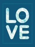 Vector blue line art flowers love text frame Stock Photo