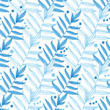 Vector blue line art leaves seamless pattern Stock Images
