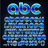 Vector blue metallic font. Abstract vector illustration of a blue metallic font Royalty Free Stock Photography