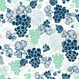 Vector Blue and Mint Green Grapevines Fruit Repeat Seamless Pattern Background. Can Be Used For Winde Tasting stationery Stock Photography